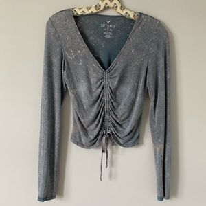 American Eagle Outfitters ruched front long sleeve